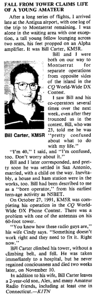 Bill Carter KM5R - fell from his amateur radio tower in 1991